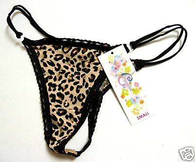A0127 CLASSIFIED LEOPARD PRINT BLACK LACE MF G-STRING MEDIUM