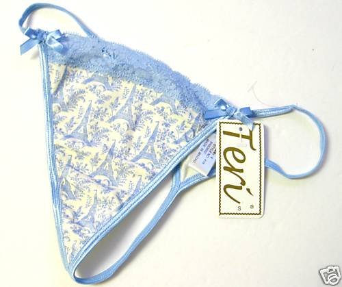A0398 TERI EIFFEL TOWER LACE COTTON THONG BLUE/IVORY  SIZE=SMALL
