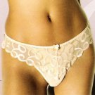 A0499T Le Mystère NEW LY333 Rouge Swirl Embroidered Lace Sheer Mesh Thong,  Blush, SIZE SMALL