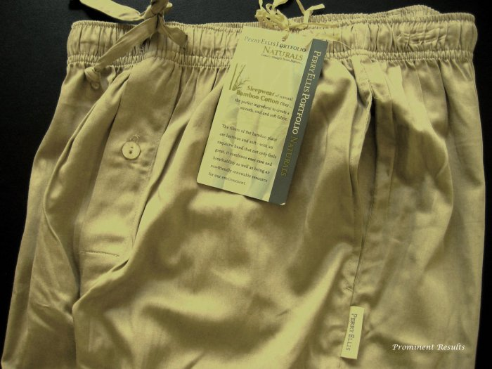 A0166 PERRY ELLIS KHAKI BAMBOO COTTON SLEEP PANT 792400, SIZE MEDIUM