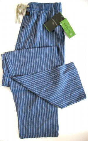 A0323 JOSEPH ABBOUD SPA BLUE STRIPES BAMBOO RAYON LOUNGE PANT SIZE LARGE