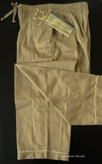 A0166 PERRY ELLIS KHAKI BAMBOO COTTON SLEEP PANT 792400, SIZE LARGE