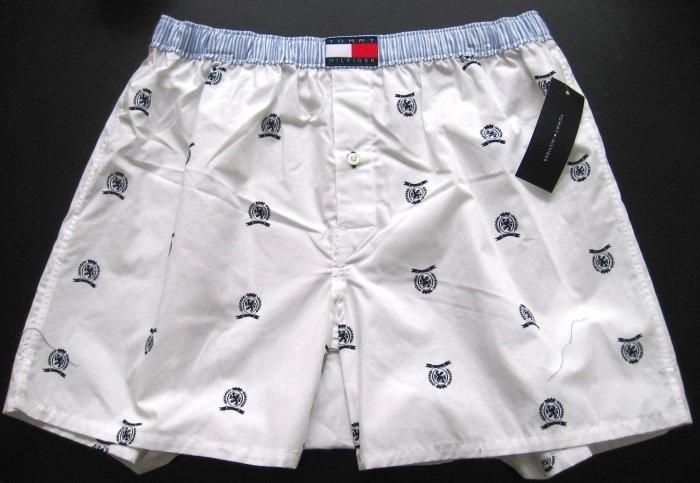A0311 Tommy Hifiger Men's Woven Boxer U62612664 White Logo SMALL