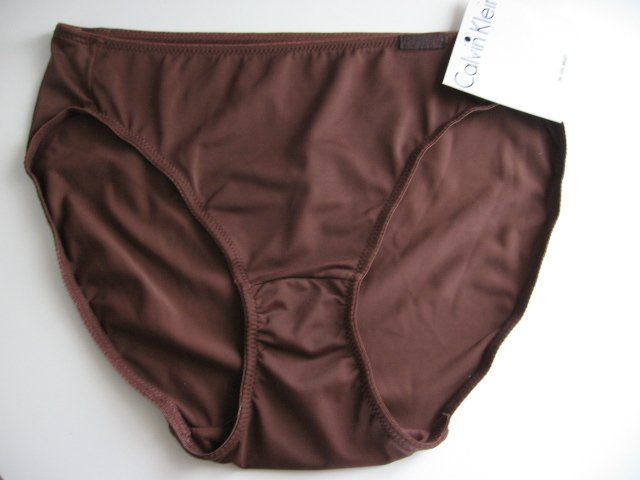 A0430 CALVIN KLEIN MICROF HI-LEG BRIEF F2716D BROWN SIZE MEDIUM