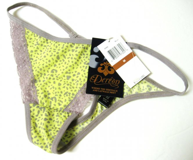A431 DEREON LIME/GRAY SU_LI MICROF & LACE THONG D2082A LARGE