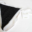 A408 RENE ROFE BLACK/WHITE POLKA DOTS COTTON G-STRING MEDIUM
