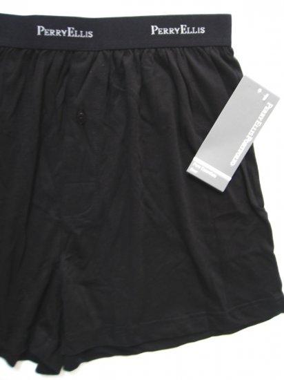 A0454 PERRY ELLIS MEN PREMIUM COTTON BOXER 933105 BLACK MEDIUM