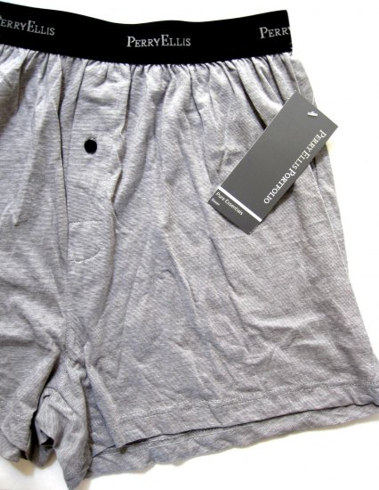 A0453 PERRY ELLIS MEN'S PURE ESSENTIALS PREMIUM COTTON BOXER 873377 GRAY MEDIUM
