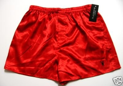 A0017 PLAYBOY MENS RED SATIN W/RABBIT HEAD LOGO BOXER  SIZE LARGE