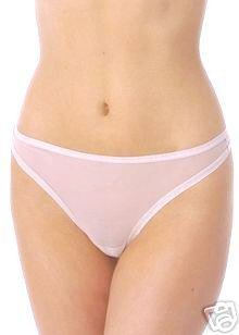 A232T NATORI White Label Soft Sheer Mesh Thong 150005D WHITE SIZE = LARGE