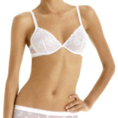A0046 Calvin Klein NEW D3098 White Seduction Satin Logo Lace Bra SIZE = 34C