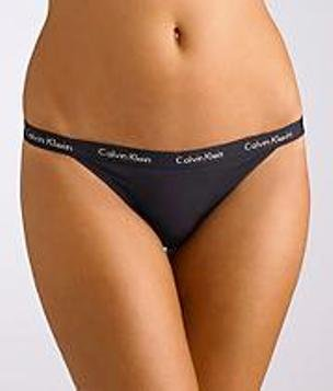 A0445 CALVIN KLEIN 365 MODERN BASIC MICROFIBER STRETCH THONG BLACK SIZE = SMALL