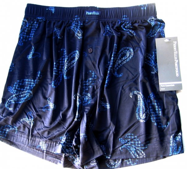 A0337 PERRY ELLIS PURE ESSENTIALS LUXURY BOXER 163607 BLUE SIZE =  LARGE