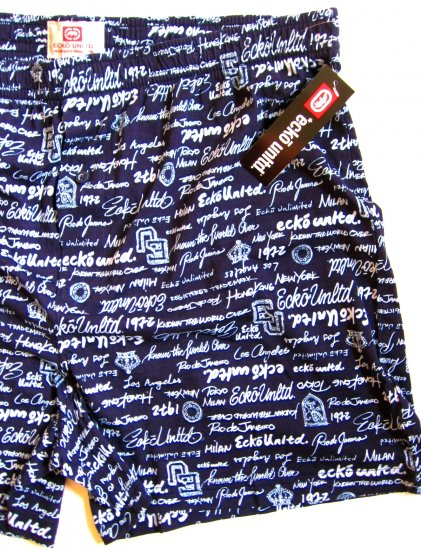 A0330 ECKO UNLTD MEN TEXT LOGO KNIT BOXER EK8102B NAVY, SIZE =  EXTRA  LARGE