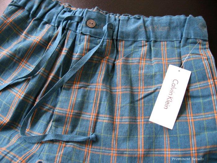 A184 CALVIN KLEIN BLUE GRID WOVEN LOUNGE  PANT U7010D, SIZE LARGE