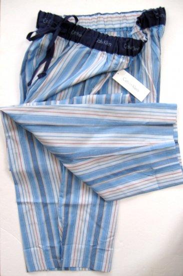 A0184 CALVIN KLEIN MULTI-BLUE STRIPS WOVEN LOUNGE  PANT U7010D-E79, SIZE SMALL