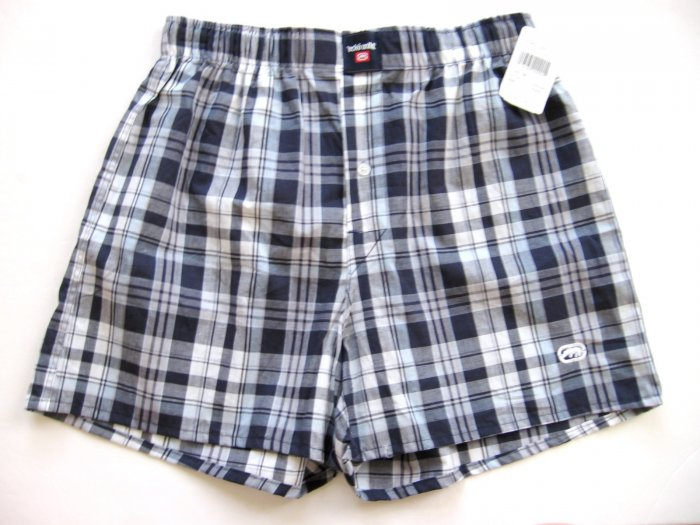 A0345 ecko unltd MEN'S BLUE/MULTI PLAID WOVEN BOXER SHORT 2690, SIZE LARGE