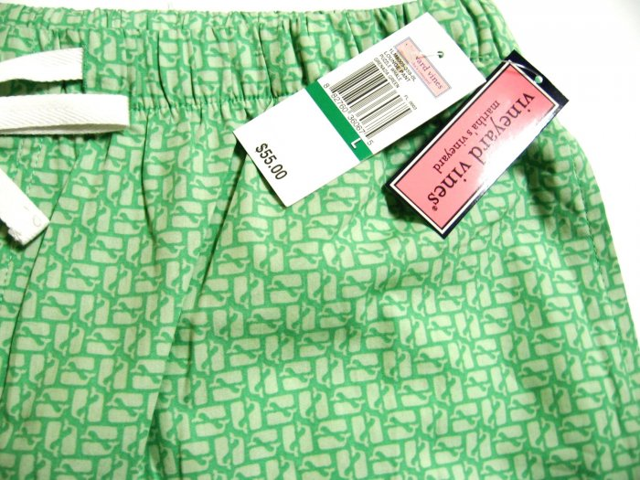 A0532 Vineyard Vines Lounge Pant Puzzle Whale 1LM8005, GREEN SIZE LARGE