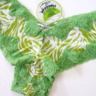 A0182 HONEYDEW GREEN ZEBRA LACE/MESH BOYSHORT 380 SIZE= EXTRA LARGE