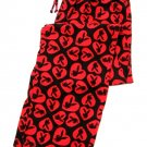 A0045 Playboy Knit Hearts and Rabit Head Long Sleep Pant PC04PL Black/Red   SIZE LARGE