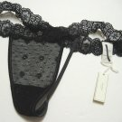 A0395 ABERCROMBIE GILLY HICKS BLACK FLORAL SHEER LACE MESH SKINNY  THONG, SIZE EXTRA SMALL