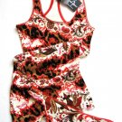 A0565 BABY PHAT RED ABSTRACT FLORAL KNIT RACEBACK TOP & THONG SET, SIZE MEDIUM