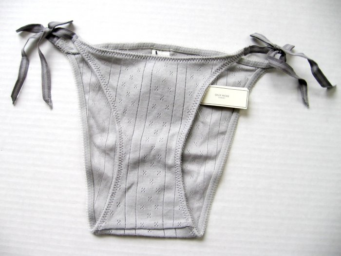 A295B ABERCROMBIE GILLY HICKS GRAY THERMAL SIDE-TIES SKNNY BIKINI, SIZE EXTRA SMALL