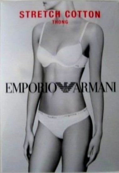 A568T EMPORIO ARMANI COTTON THONG 162093 W/ CERTIFICATE, WHITE SIZE LARGE