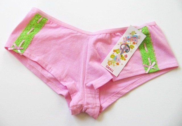 X102 CLASSIFIED LIME LACE SOFT PINK COTTON BOYSHORT MEDIUM
