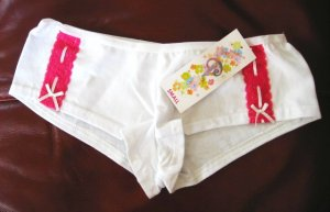 X102 CLASSIFIED PINK LACE SOFT WHITE COTTON BOYSHORT MEDIUM