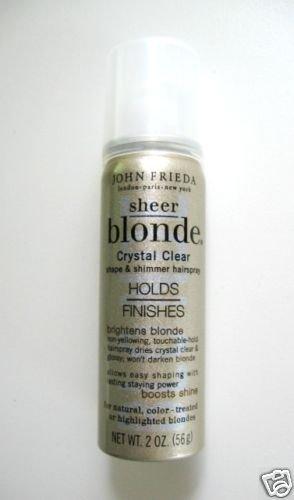 B001 2 x JOHN FRIEDA SHEER BLONDE CRYSTAL CLR HAIRSPRAY 2oz