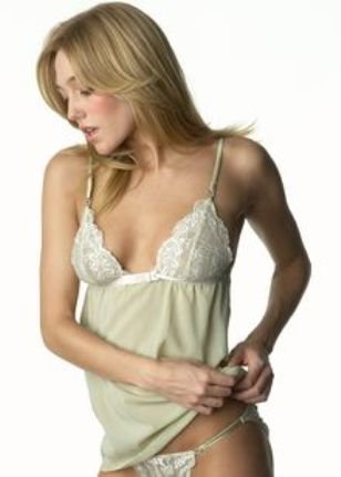 A421S ELLE MACPHERSON Boudoir French Lace 022 Camisole & Thong Set, Antique Green  SIZE SMALL
