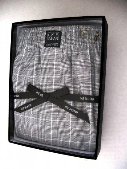 A0125 IKE BEHAR Men's Black/White Plaid Woven Boxer SIZE MEDIUM (32-34)