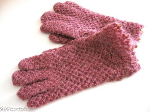 9C4 Avon Women's Radiant Beaded Mohair Gloves Mauve New