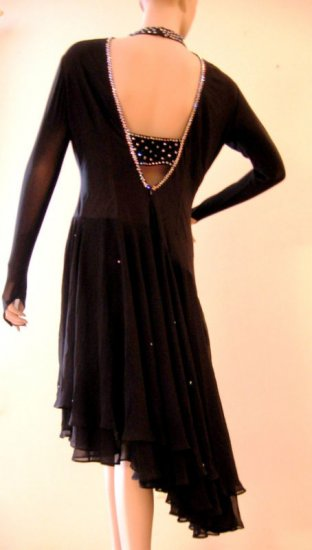 LD105 Ruche Black Mesh/Lycra Swarovski Crystal Dress XL