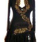 LD002 RUCHE Blk Satin Mesh Gold Sequins Latin Dress S/M