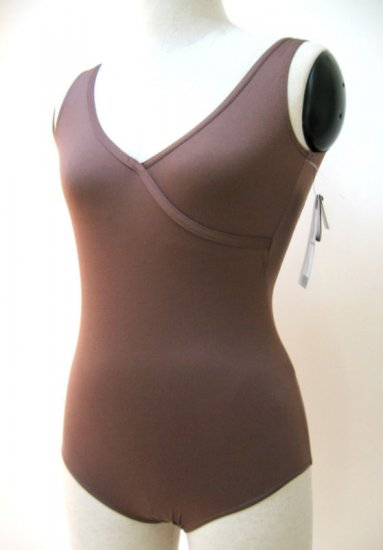 D001 DANSKIN Mock Wrap Tank Leotard 2200 Iced Mocha New
