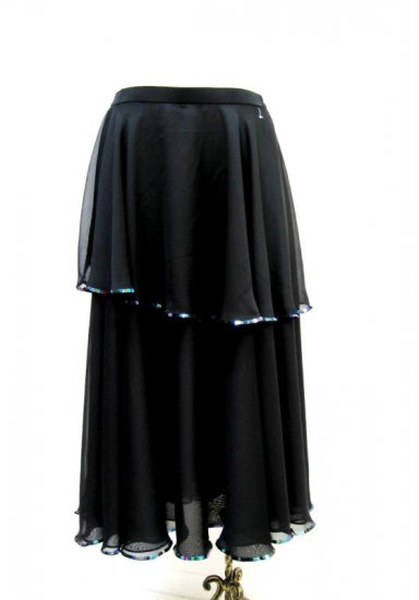 SPS112 Ruche Black Chiffon Mult Sequins Practice Skirt XL