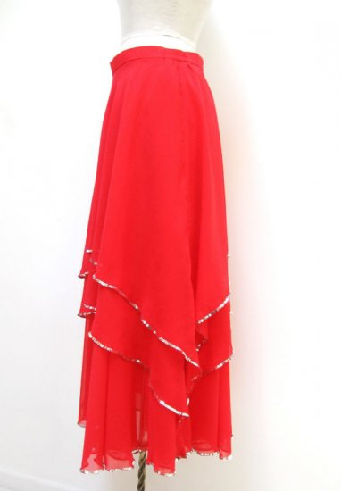 SPS119 Ruche Red Chiffon Silv Sequins Practice Skirt XL