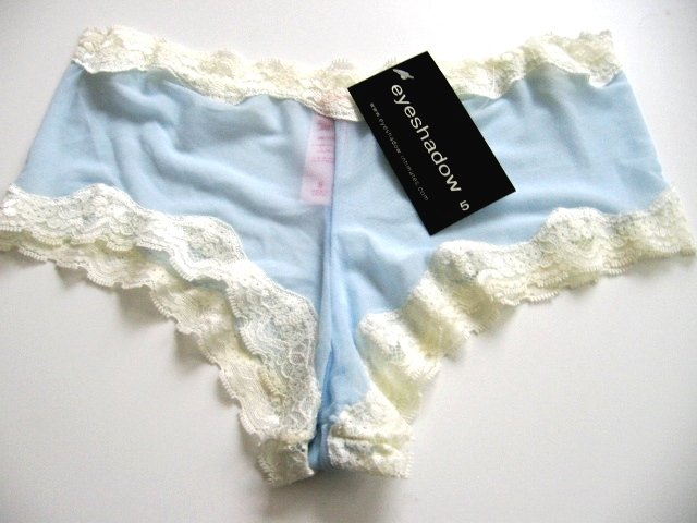 A0152 Eyeshadow Sheer Mesh Lace Accent Boyshort BLUE, SIZE XL (8)