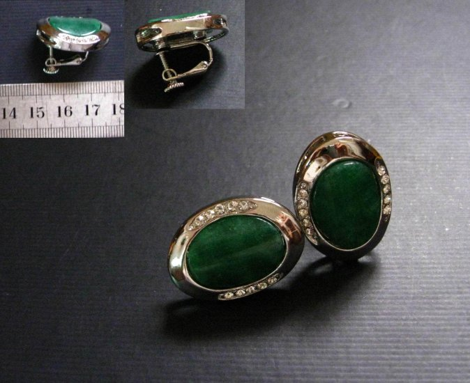 Silver Jade & SD Clip Earrings