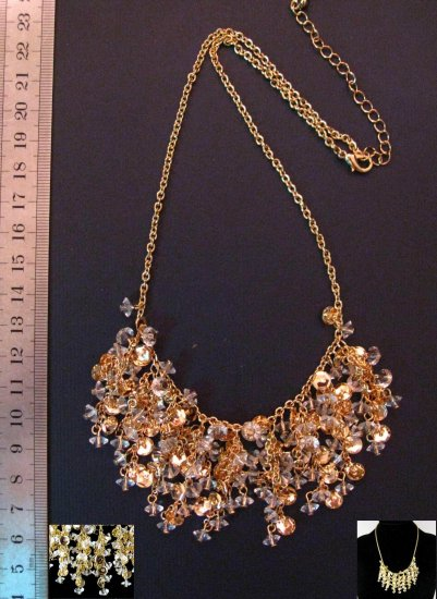 Unique Sparkling Gold Rhinestone Lappet Necklace, 20.3""