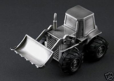 Personalized Pewter Bulldozer Baby Bank - Engraved Free