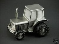 Personalized Pewter Tractor Baby Bank - Engraved Free
