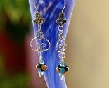 Bali Sterling silver wire wrapped blue lampwork earrings