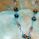 Sterling silver wire wrapped lampwork necklace