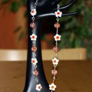 Sterling silver and Swarovski crystals lampwork necklace