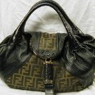 AUTHENTIC NEW FENDI 8BR511 ZUCCA BLACK LEATHER SPY BAG