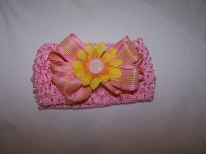 Pink/Yellow Bow Headband