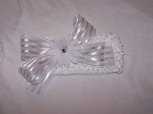 White on White Bow Headband